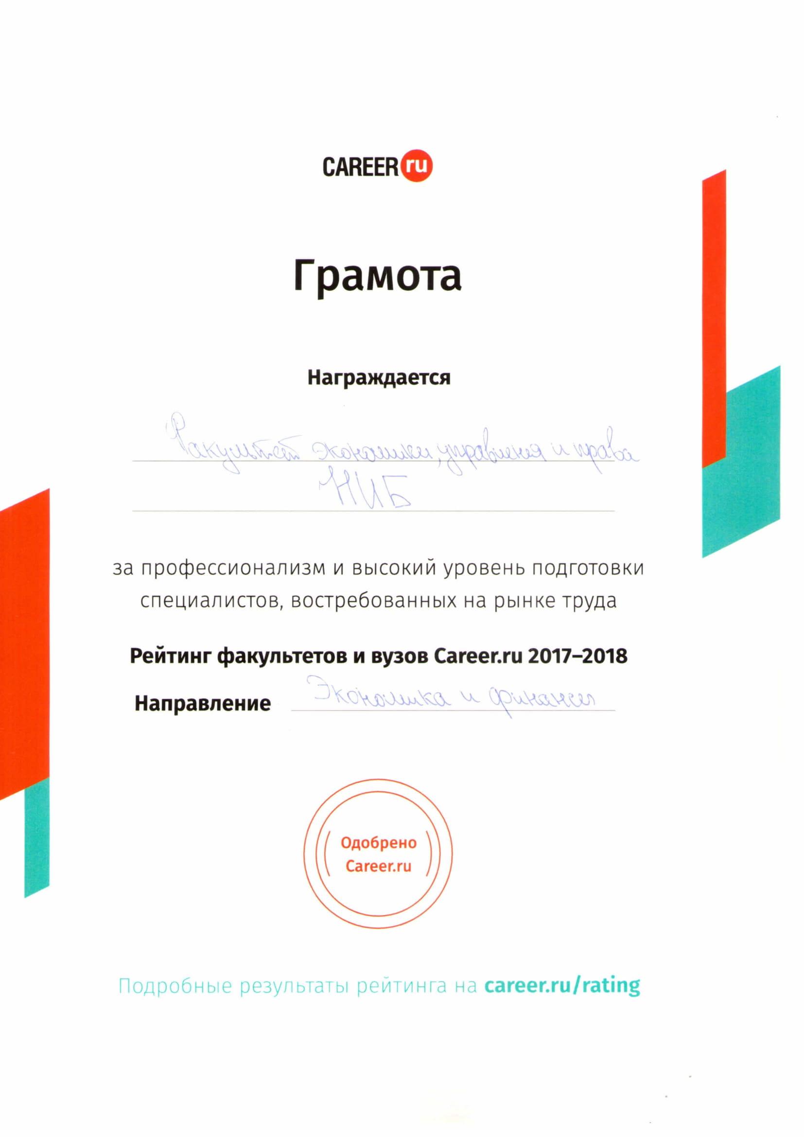 Лучшие факультеты и вузы Москвыпо версии Career.ru